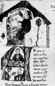 """Enguany se celebra el 750è centenari del naixement de Ramon Muntaner (Peralada, 1265 – Eivissa, 1336). És autor d'una de les quatre grans cròniques medievals, la més personal i la que abasta un període més llarg. La il•lustració representa Ramon Muntaner escrivint la """"Crònica""""."""