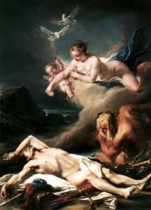 Hector exposé sur les rives du Scamandre, del pintor Jean-Baptiste Deshays